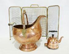 Mixture of copper and brasswareto include fireside companion tools, coal helmet, spark guard