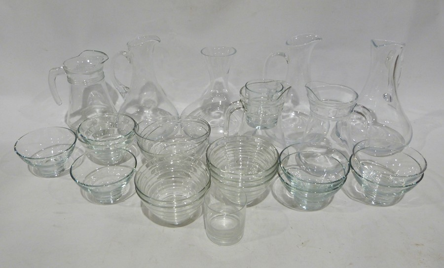 Quantity of assorted glassware to include water jugs, decanters, tumblers, bowls, a set of three - Image 2 of 5