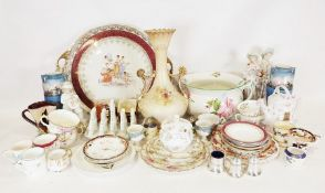 Two boxes of various china and glassware to include a large serving tray, chamber pot, cut glass