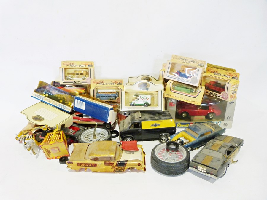 Two boxes of various toy cars and LPsto include LPs by Bruce Springsteen, Not the Nine O Clock - Image 2 of 2