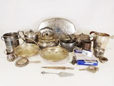 Large quantity of cutlery together with various plated wares to include teapots, tea strainer