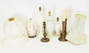 Four assorted modern table lampsand 3 candlesticks.