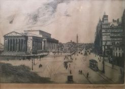 """Edwin Law RA: A signed artist proof etching of """"Lime Street"""" and other frames and prints together"""