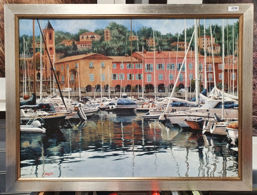 Modern canvas print of boats in harbour, signed 'Ferrigno', 57cm x 81cm - Image 2 of 2