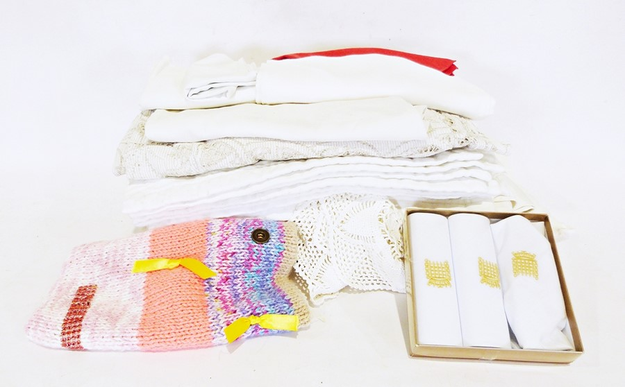 Box of various handkerchiefs, linen and tablecloths and a box of various china and glass (2) - Image 2 of 2