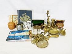 Two boxes of various china, glass and household items to include a copper jelly mould in the form of