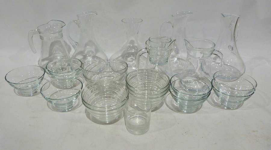 Quantity of assorted glassware to include water jugs, decanters, tumblers, bowls, a set of three - Image 3 of 5