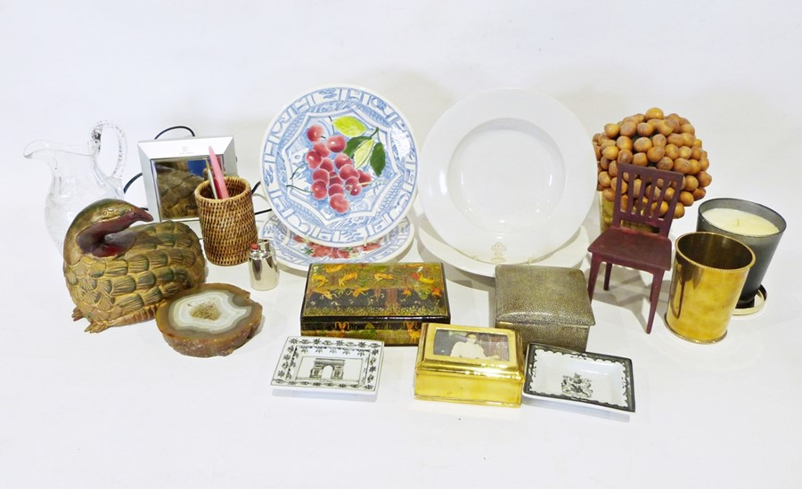 Boxes of assorted decorative and household itemsto include two Gien France dinner plates, various