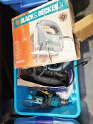 Quantity of assorted tools to include a black and decker drill, a New-Tool electric planer and other