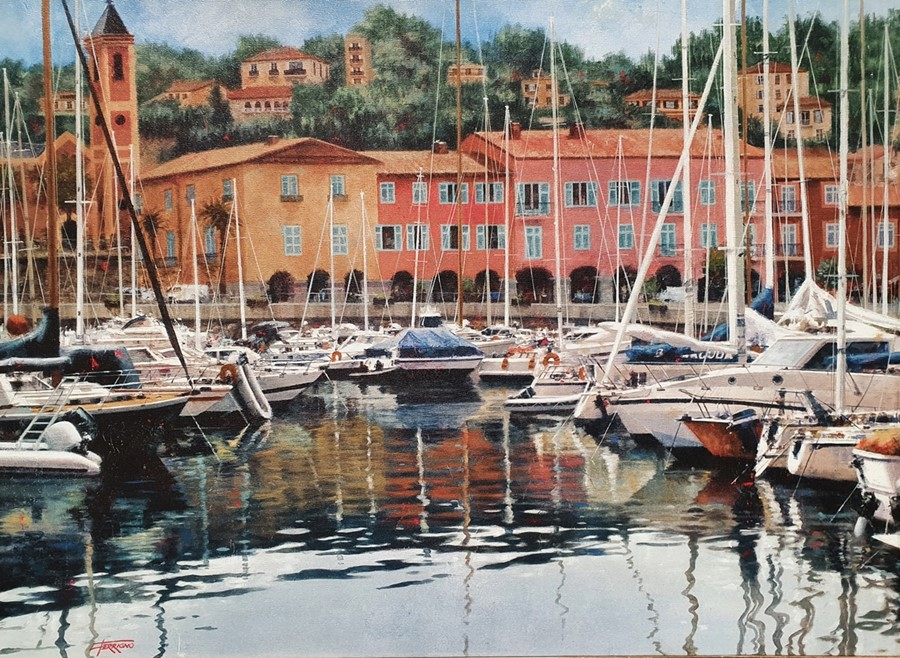 Modern canvas print of boats in harbour, signed 'Ferrigno', 57cm x 81cm