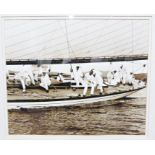 """Two framed and glazed photograph printsof yachting scenes, titled """"Ready About"""" and """"Windward"""