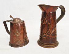 Arts and Crafts Joseph Sankey copper lidded mug no. 409942,Art Nouveau jug, candlesticks,