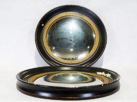 Pair of circular convex wall mirrors(2) Condition ReportWear throughout including patches of paint
