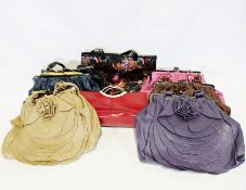 Box of various leather handbags