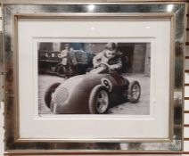 Limited edition photographic print of a vintage race car, 11/295, applied Studio stamp Trowbridge,