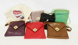 Two boxes of various handbags