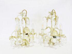 Pair of cream painted metal electroliers (2)