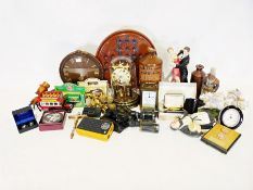 Box of various decorative and household items to include clocks, figures, etc