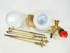 Box of various household items to include a brass fireside set