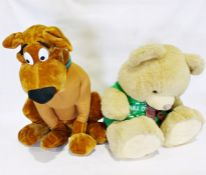 Large stuffed Scooby Doo toy and a large teddy bear(2)