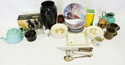 Three boxes of assorted glass and china items to include various Davenport collectors plates, cut