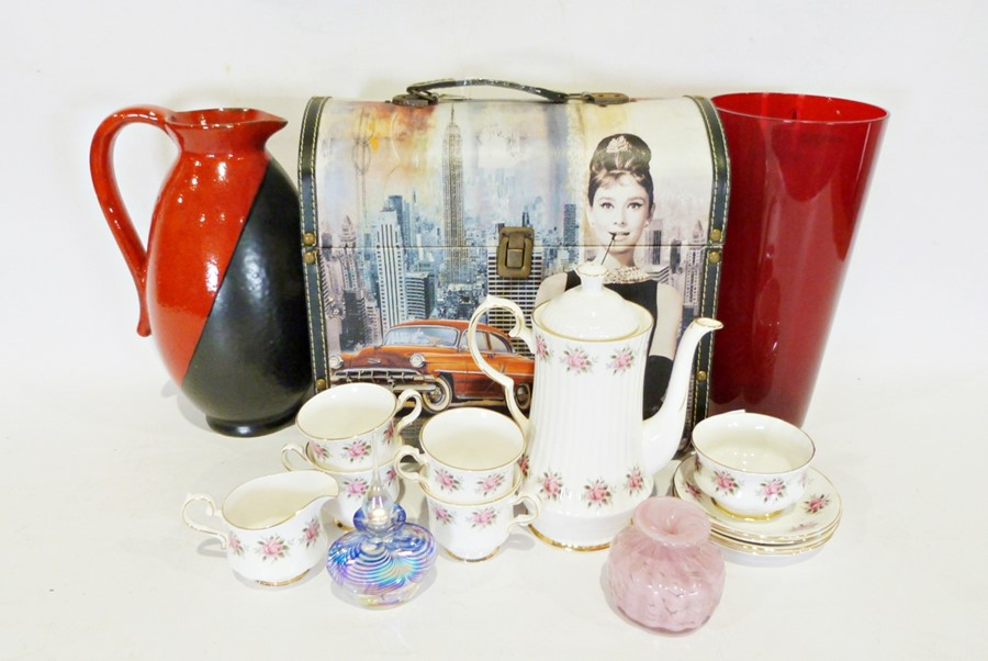 Box of various china items to include a Royal Imperial part tea service and a West German-style ewer