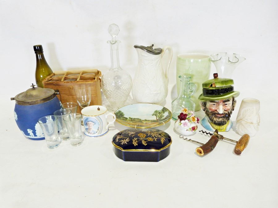 Box of various handkerchiefs, linen and tablecloths and a box of various china and glass (2)