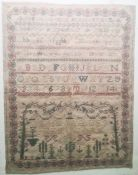 Early 19th century needlework samplerby Jane Jaques 1819, decorated with numbers and alphabets with