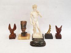 Modern carved hardstonescarab, a resin model of David and various Egyptian souvenir sculptures