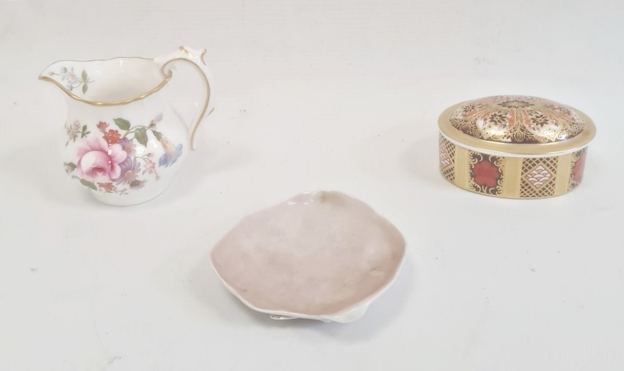 Royal Crown Derby small box and coverof oval form decorated in the 'Old Imari' pattern, 7cm long, a