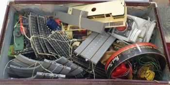Suitcase and contents of assorted model railway and other accessories including track, electrics,