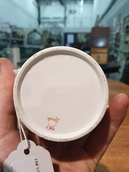 Spode two handled cup and cover, circa. 1820 of tapering form with scroll handles decorated in the - Image 8 of 8