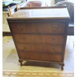 20th century chest of four drawers, on cabriole legs, 76.5cm x 91cm