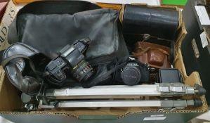 Pentax MV1 camera, a Pentax SFX camerawith Hoyer 49mm lens, a Pentax F SMC zoom 1:4:5.6 lensand