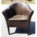 Brown leatherette tub chair on tapering supports