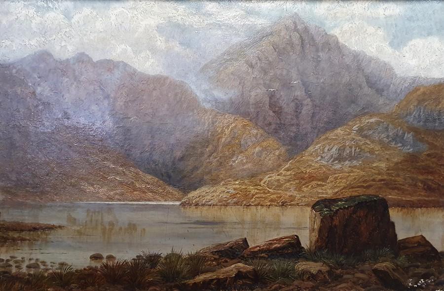 G E Lowe - British 19th century Oil on canvas Mountainous lake scene, 49.5 x 75cm