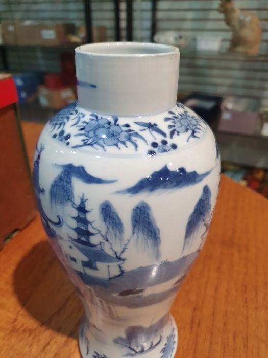 Chinese blue and white vaseof baluster form decorated with pagodas and lake scene, within a - Image 9 of 22