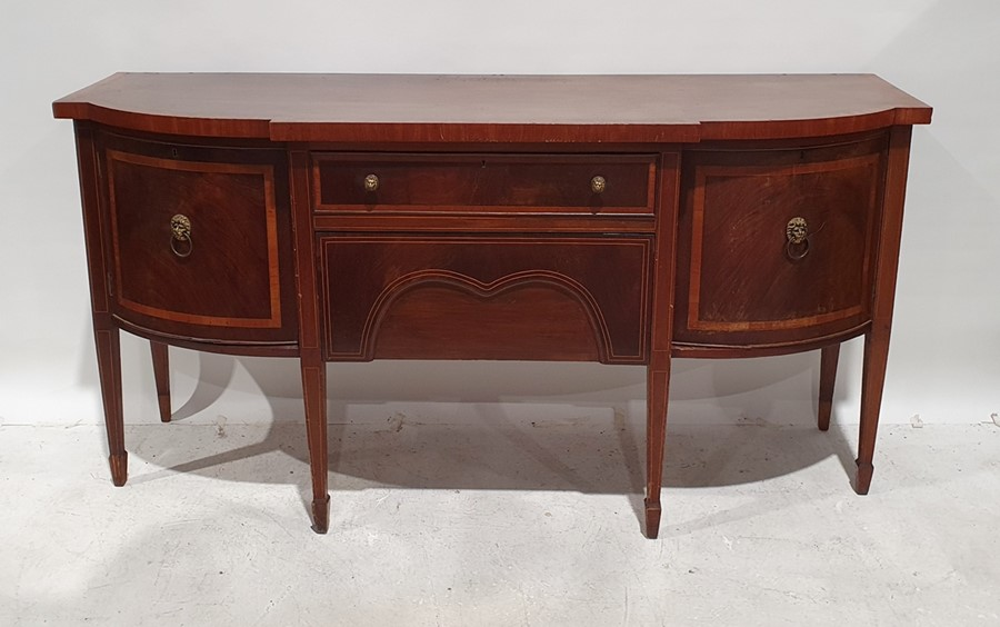 19th century mahogany and satinwood banded breakfront sideboardwith two central drawers flanked