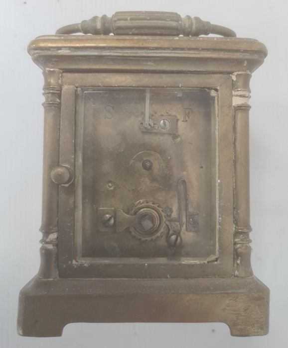 Brass and glass carriage clockwith Roman numerals to the dial - Image 8 of 10