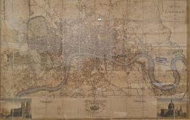 Reproduction C & J Greenwood 'Map of London', modern print 96 x 151 cm
