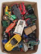 Two boxes of assorted carsto include Matchbox Superkings, Corgi, etc
