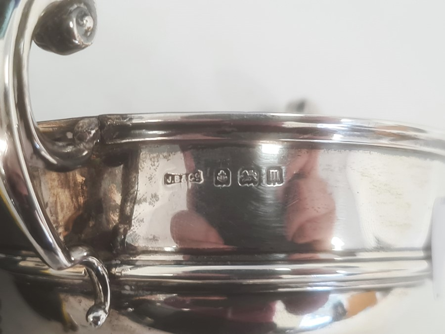 Silver two-handled pedestal bowlby J Boseck & Co, Birmingham 1911, of circular form with scroll - Image 2 of 2