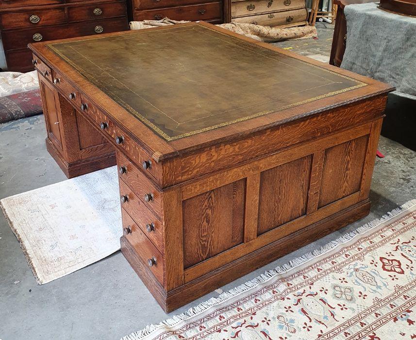 Edwardian oak partner's pedestal desk of large proportions, the rectangular gilt tooled leather - Image 2 of 26