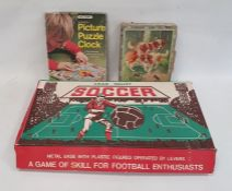 Chad Valley table soccer set, a Victory picture puzzle clockand a set of picture building blocks (