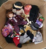 Quantity of soft toys and dollsincluding a clown with ceramic face, porcelain headed collectors