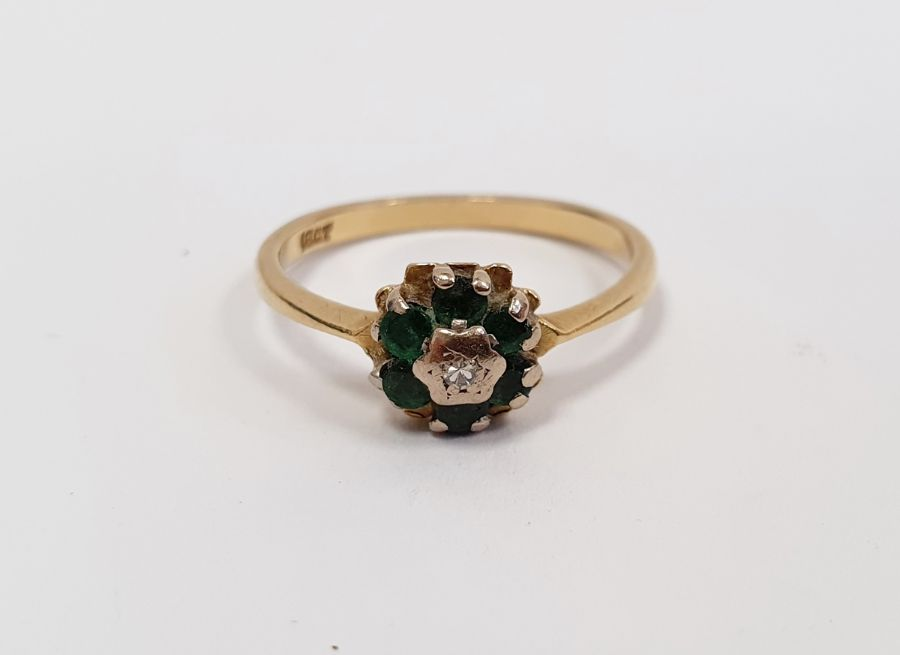 **** WITHDRAWN **** Green and white stone cluster ring, marked 18ct, finger size M, approx.