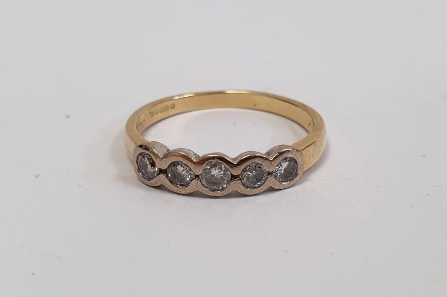 ****** Withdrawn********18ct gold five-stone diamond ring, the brilliant cut diamonds in rubover - Image 2 of 6