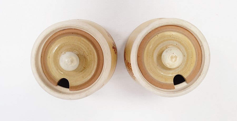 """Pair of Rupert Andrews """"Mocha"""" ware lidded preserve jars decorated with country landscapes, - Image 4 of 7"""