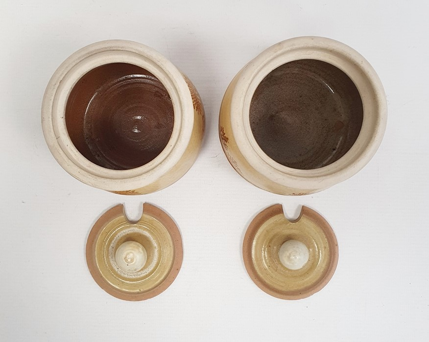 """Pair of Rupert Andrews """"Mocha"""" ware lidded preserve jars decorated with country landscapes, - Image 5 of 7"""