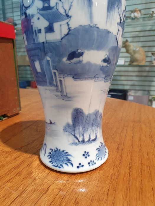 Chinese blue and white vaseof baluster form decorated with pagodas and lake scene, within a - Image 10 of 22